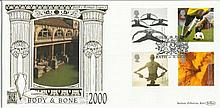 Body & Bone October 2000 Benham 22ct gold FDC with Bath postmark. Catalogues at £20+. Good condition
