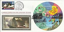 2001 Weather Miniature Sheet Benham Channel official Tunnel FDC with £1 Railway letter stamp & Historic Channel Tunnel postmark. Carried through the tunnel with special cachet. Good condition