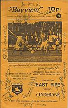East Fife v Clydebank programme 24/4/76 signed on the front by 11 Clydebank players. Good condition