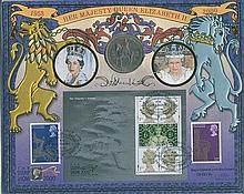 Signed Benham Official Coin FDC - Benham Stamp Miniature Sheet coin FDC Her