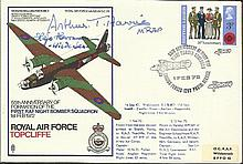 MRAF Arthur Harris, Col Hajo Herman Luftwaffe nightfighter pioneer signed R
