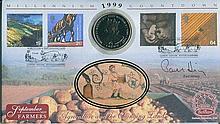 Signed Benham Official Coin FDC - Benham Millennium Countdown coin FDC 'Agr
