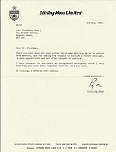 Stirling Moss TLS on headed paper dated 3/5/1985. Good condition
