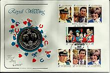 1981 Cotswold Covers Royal Wedding coin cover with Guernsey stamps and larg
