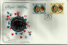 1981 Cotswold Covers Royal Wedding coin cover with Jersey stamps and large