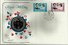 1981 Cotswold Covers Royal Wedding coin cover with Isle of Man stamps and l