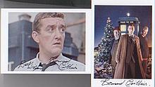 Dr Who. A pair of postcard sized pictures of Bernard Cribbins playing diffe