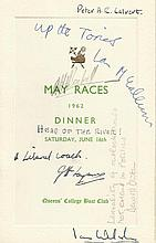 David Owen and many more signed dinner menu for Queens College Boat club ra