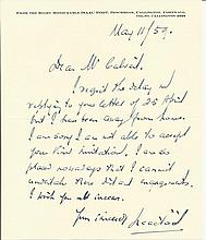 Isaac Foot handwritten letter dated 11/5/59. Good condition