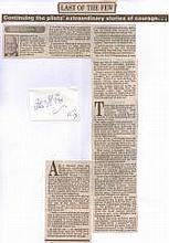 Signature of Warrant Officer Peter Fox 56 Squadron Battle of Britain. Plus