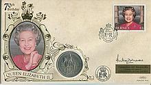 Signed Benham Official Coin FDC - Benham 70th birthday HM the Queen coin co