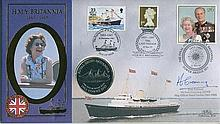 Signed Benham Official Coin FDC - Benham HMY Britannia coin cover signed by