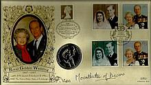 1997 Benham Royal Golden Wedding coin cover with Royal Wedding stamps, Wind