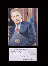 West Wing. Handwritten note by Martin Sheen with a picture in character as