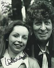 Tom Baker and Laila Ward signed 10x8 b/w Dr Who picture.  Good condition.