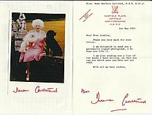 - Dame Barbara Cartland signed 6 x 4 photo and typed signed letter fixed t