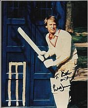 - Peter Davison Dr Who signed 10 x 8 colour photo in cricket gear in front