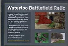 Waterloo Relic Presentation. 8x6 inch card featuring a genuine piece of the