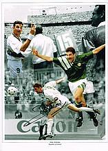 John Aldridge autographed football photo. High quality colour 16x12 inch mo
