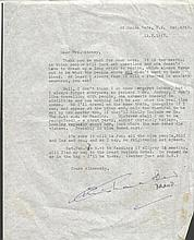 Christianna Brand handsigned typed letter. Typed letter, dated 1967 on pers
