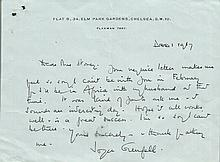 Joyce Grenfell signed handwritten letter. Half sized page, handwritten and