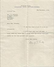 Dornford Yates typed and handsigned letter. Typed letter, dated 8th Decembe