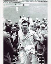 Fred Trueman: 8x10 inch photosigned by the late Freddie Trueman, pictured