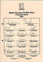 Essex Cricket Team sheet 2001 signed by Hussain, Irani, Anderson, Bishop, C