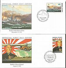 World War Two Battles Collection. Set of 11 Marshall Islands 1989 first day