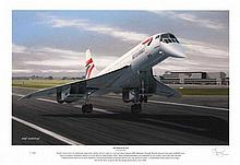 Concorde Limited edition signed print, slightly damaged: End of an Era. Dep