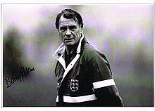 Sir Bobby Robson autographed football photo. High quality black and white 1