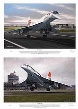 Concorde Limited Edition Match Numbered Pair of signed prints. We can also