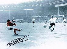 Geoff Hurst autographed football photo. High quality black and white 16x12