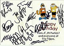 Castleford Tigers, three Birthday cards all signed by the team inside.  Goo