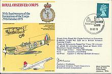 John Cochrane signed cover. 1975 Royal Observer Corps cover signed by Capta