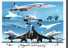 Concorde 40th Anniversary Montage signed by Mike Bannister. Chief Concorde