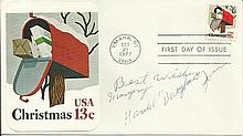 Harold Baby Face Jones US boxer signed 1977 US Christmas FDC Good condition