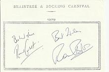 Ronnie Corbett & Ronnie Barker signed A5, half A4 size white sheet with Bra