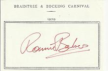 Ronnie Barker signed A5, half A4 size white sheet with Braintree & Bocking