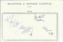 The Drifters four band members signed A5, half A4 size white sheet with Bra