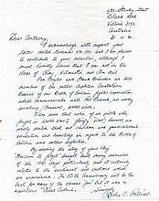 Flight Lieutenant Charles Palliser DFC Excellent modest hand written letter
