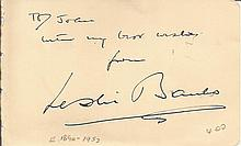 Leslie Banks signed autograph album page. Good condition