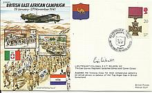 WW2 50th Ann VIP signed cover JS50/41/1 British East Africa Campaign signed