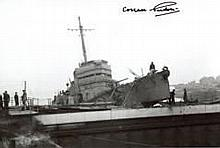 St Nazaire Raid: 8x12 inch photograph of HMS Campbeltown after being rammed