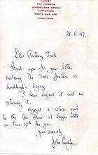 Group Captain John Cunningham CBE DSO** DFC Hand written letter with fine s