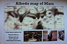 Sir Patrick Moore: 16x12 inch print 'Albedo Map of Mars' produced from obse