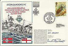 Lt Cdr Roope & A Harris signed Lt Cdr Roope VC official Navy cover RNSC ser