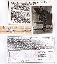 Wing Commander Geoffrey Atherton OBE DFC* Signature of RAAF ace of the New
