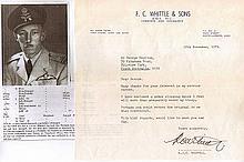 Robert J.C. Whittle DFM Letter from Sergeant Pilot (later Squadron Leader)