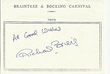 Richard Briers signed A5, half A4 size white sheet with Braintree & Bocking